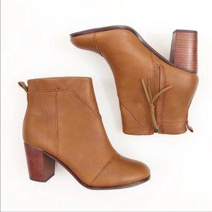 Toms Lunata Block Heel Booties Brown Size 10